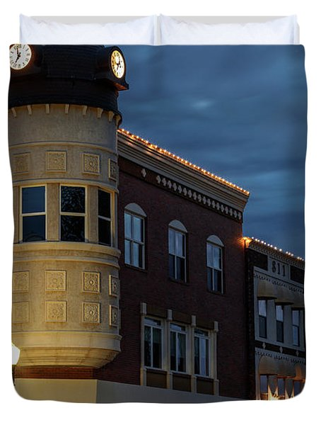 Blue Hour Over The Clock Tower Duvet Cover