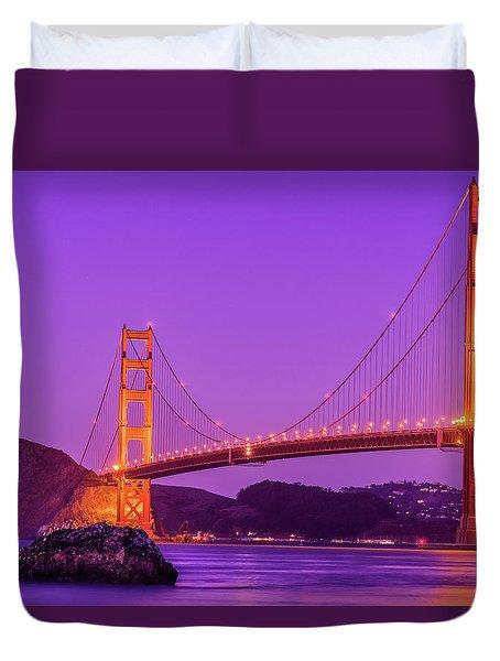 Golden Gate Bridge In The Blue Hour Duvet Cover