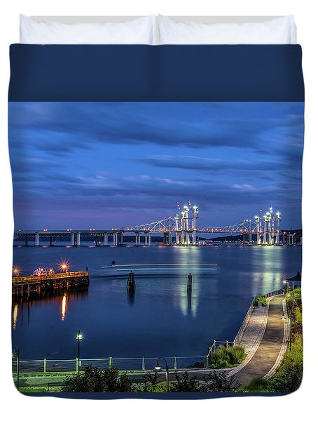 Blue Hour Over The Hudson Duvet Cover by Jeffrey Friedkin