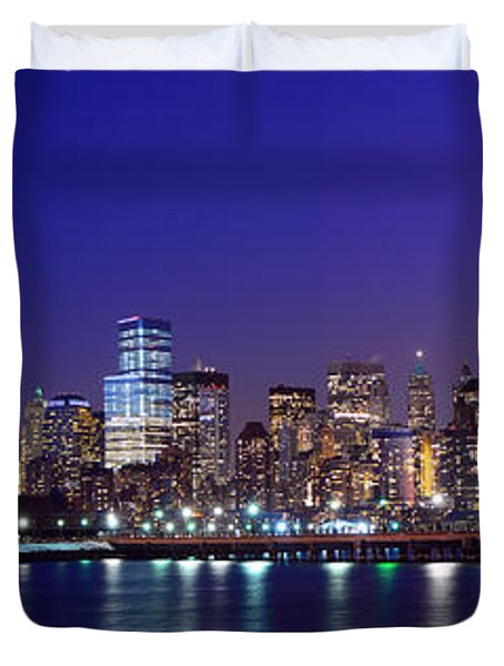 Blue Hour Panorama New York World Trade Center With Freedom Tower From Liberty State Park Duvet Cover