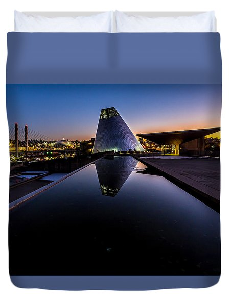 Blue Hour Reflections On Glass Duvet Cover