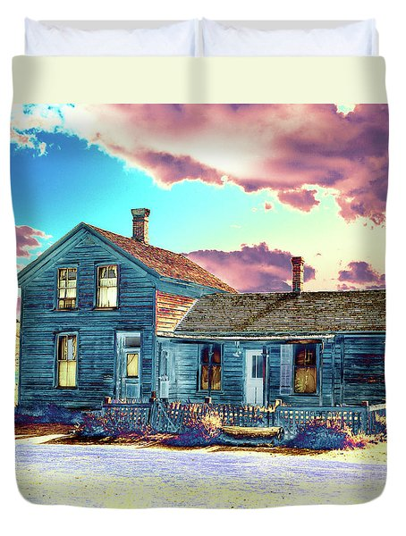 Duvet Cover featuring the photograph Blue House by Jim and Emily Bush