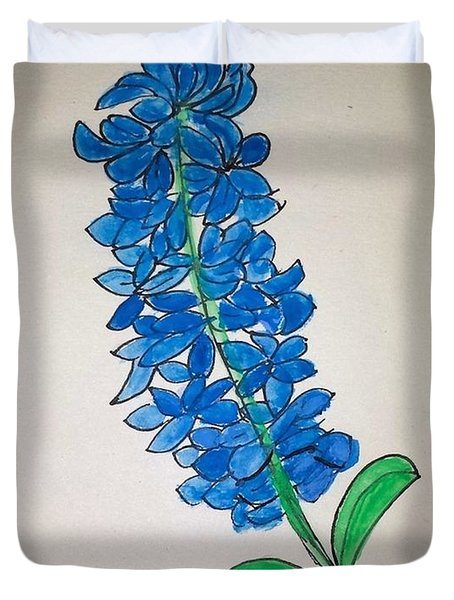 Duvet Cover featuring the painting Blue Hyacinth by Margaret Welsh Willowsilk
