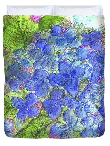 Duvet Cover featuring the painting Blue Hydrangea by Cathie Richardson