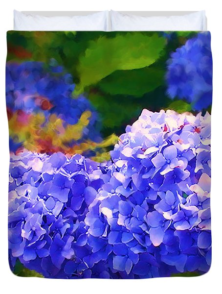 Blue Hydrangea Duvet Cover by Methune Hively