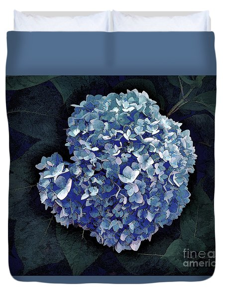 Duvet Cover featuring the photograph Blue Hydrangea by Mim White