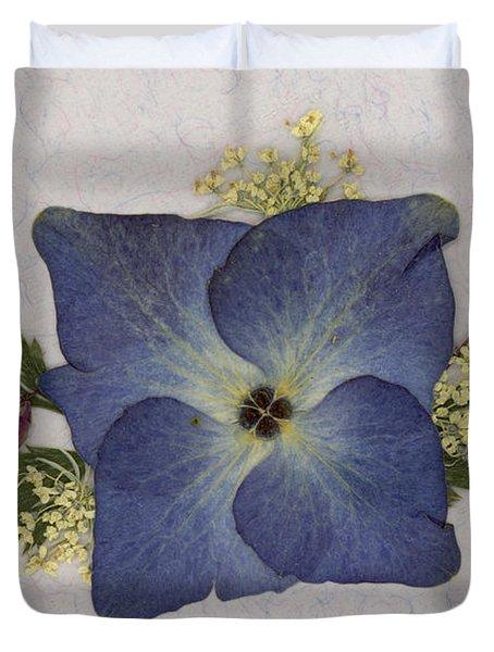 Blue Hydrangea Pressed Floral Design Duvet Cover