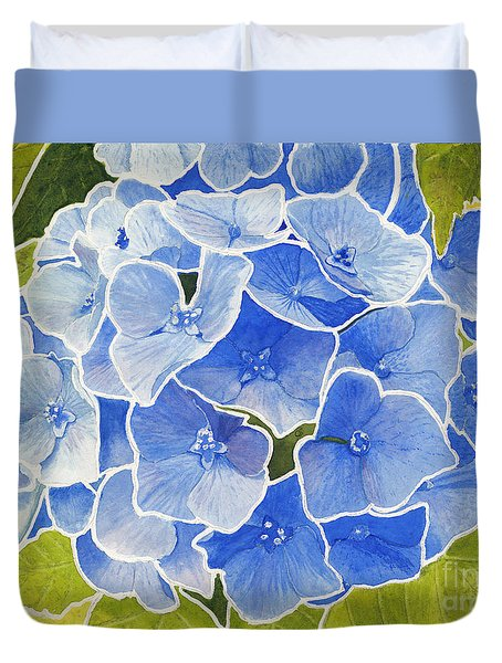 Blue Hydrangea Stained Glass Look Duvet Cover