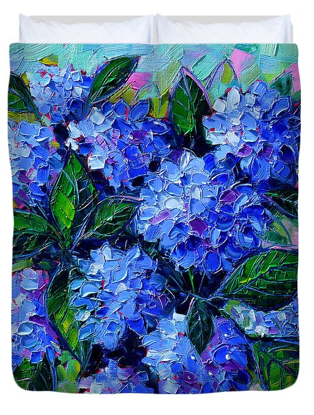 Blue Hydrangeas - Abstract Floral Composition Duvet Cover