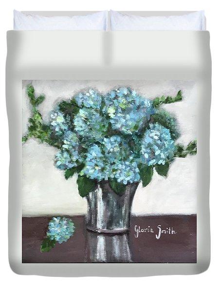 Blue Hydrangea's In Silver Vase Duvet Cover