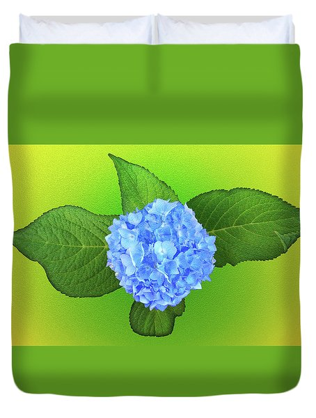 Duvet Cover featuring the photograph Blue Hydrangea by Mike Breau