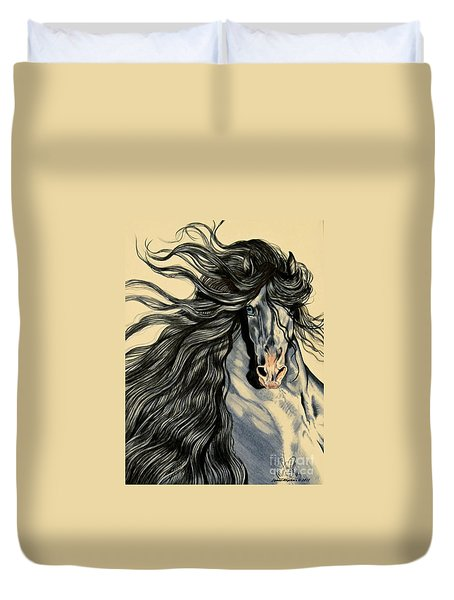 Blue Ice - Mustang Duvet Cover by Cheryl Poland