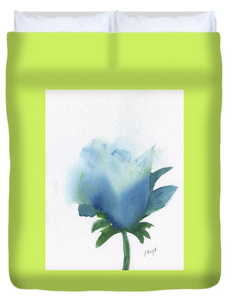Duvet Cover featuring the painting Blue In Bloom by Frank Bright