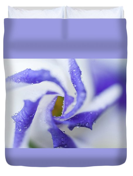 Duvet Cover featuring the photograph Blue Inspiration. Lisianthus Flower Macro by Jenny Rainbow