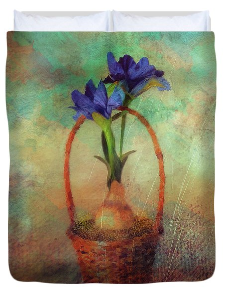 Duvet Cover featuring the digital art Blue Iris In A Basket by Lois Bryan