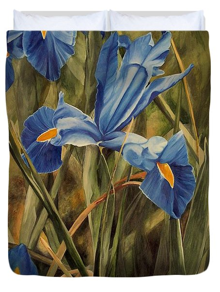 Duvet Cover featuring the painting Blue Iris by Laurie Rohner