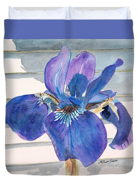 Duvet Cover featuring the painting Blue Iris by LeAnne Sowa