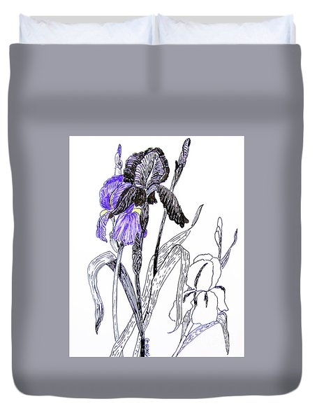 Blue Iris Duvet Cover by Marilyn Smith