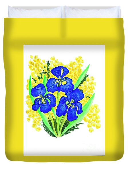 Blue Irises And Mimosa Duvet Cover