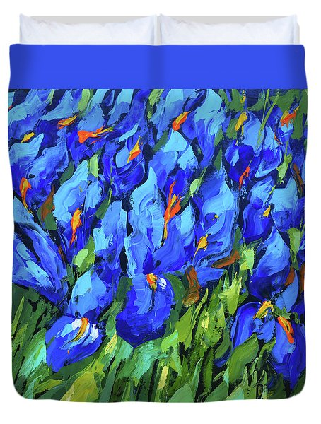 Blue Irises Duvet Cover