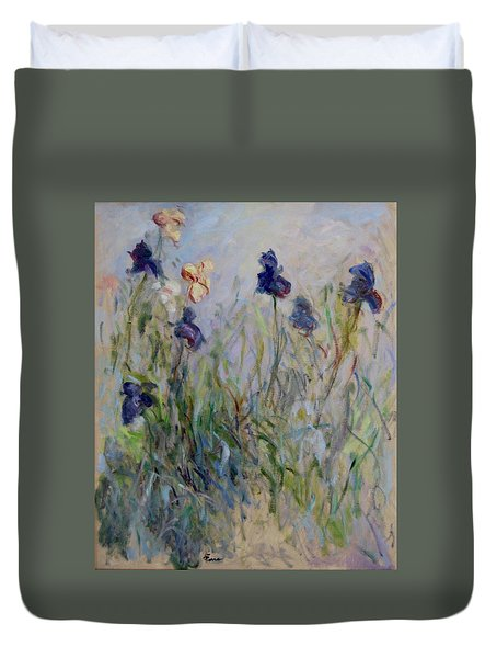 Blue Irises In The Field, Painted In The Open Air  Duvet Cover