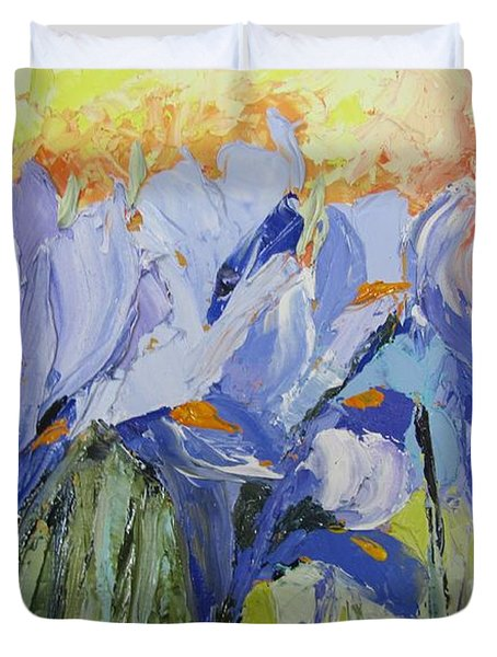 Blue Irises Palette Knife Painting Duvet Cover