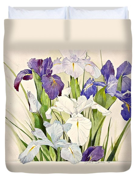 Duvet Cover featuring the painting Blue Irises-posthumously Presented Paintings Of Sachi Spohn  by Cliff Spohn