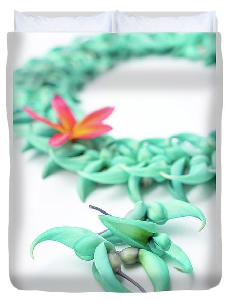 Blue Jade Lei Duvet Cover