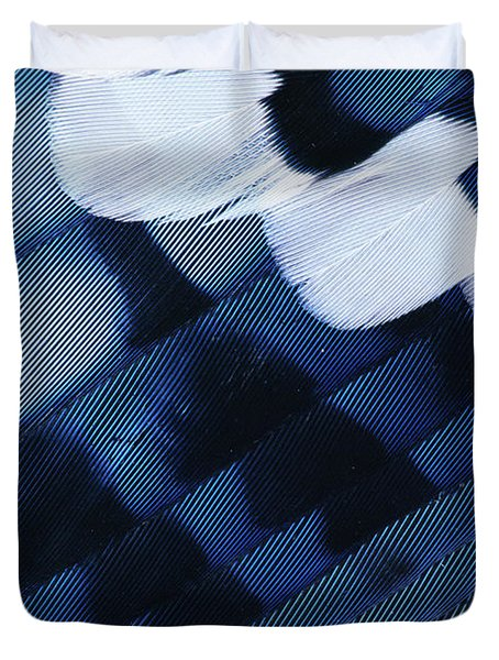 Blue Jay Cyanocitta Cristata Feathers Duvet Cover by Rolf Nussbaumer
