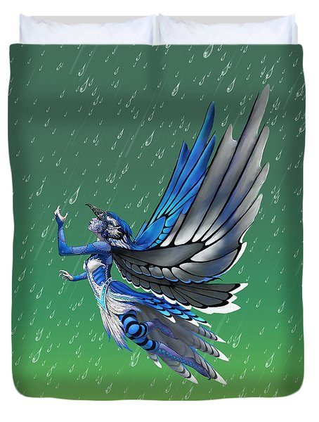 Duvet Cover featuring the digital art Blue Jay Fairy by Stanley Morrison