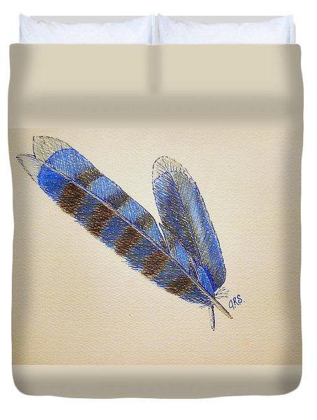 Duvet Cover featuring the drawing Blue Jay Feathers by J R Seymour
