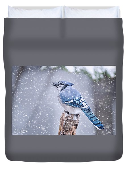 Blue Jay In Snow Storm Duvet Cover