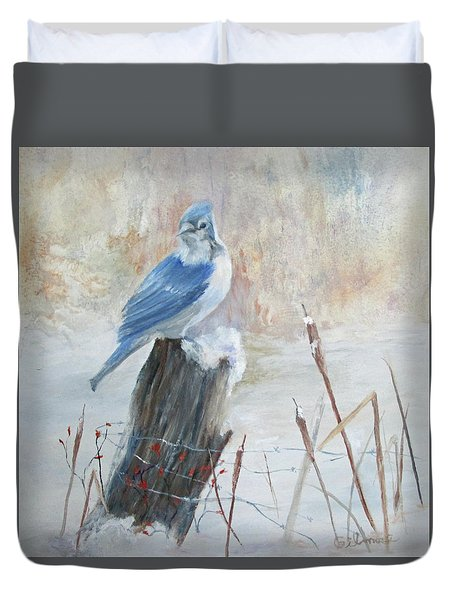 Blue Jay In Winter Duvet Cover by Roseann Gilmore