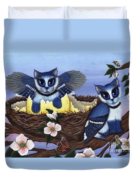 Blue Jay Kittens Duvet Cover