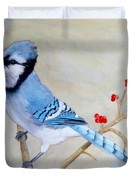 Duvet Cover featuring the painting Blue Jay by Laurel Best