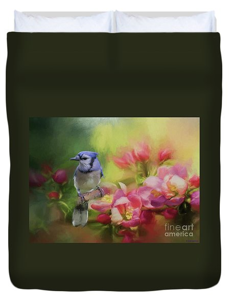 Blue Jay On A Blooming Tree Duvet Cover