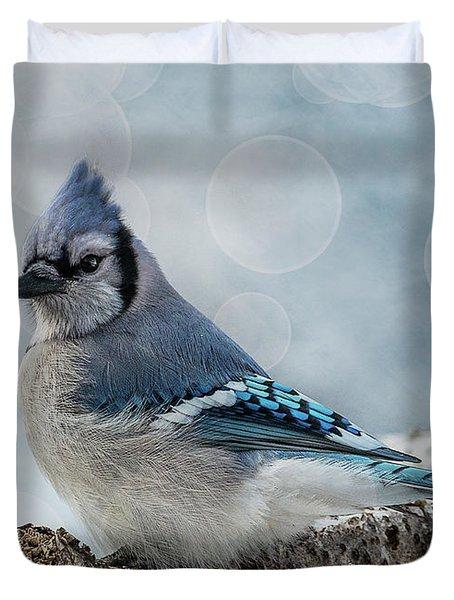 Blue Jay Perch Duvet Cover