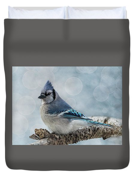 Duvet Cover featuring the photograph Blue Jay Perch by Patti Deters