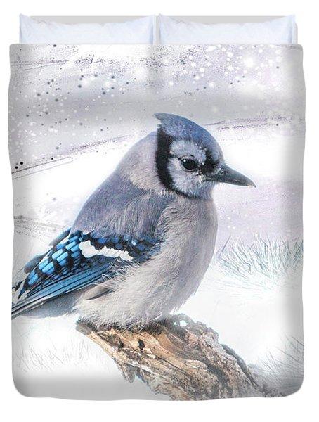 Blue Jay Snow Duvet Cover