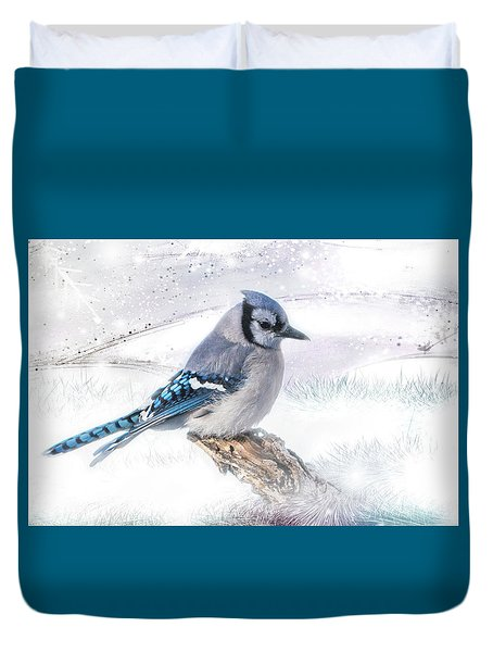 Duvet Cover featuring the photograph Blue Jay Snow by Patti Deters