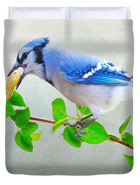 Blue Jay With Peanut Duvet Cover