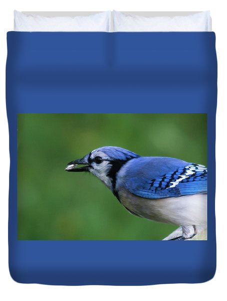 Blue Jay With Seed Duvet Cover