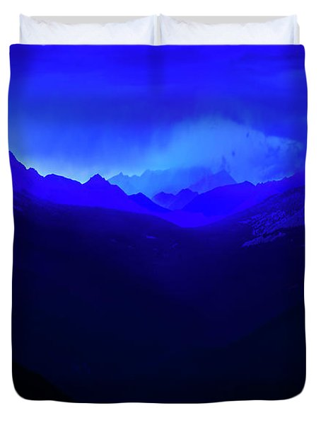 Duvet Cover featuring the photograph Blue by John Poon