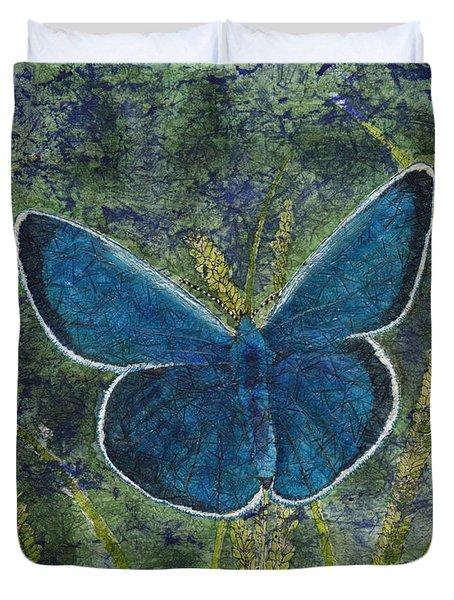 Blue Karner Butterfly Watercolor Batik Duvet Cover
