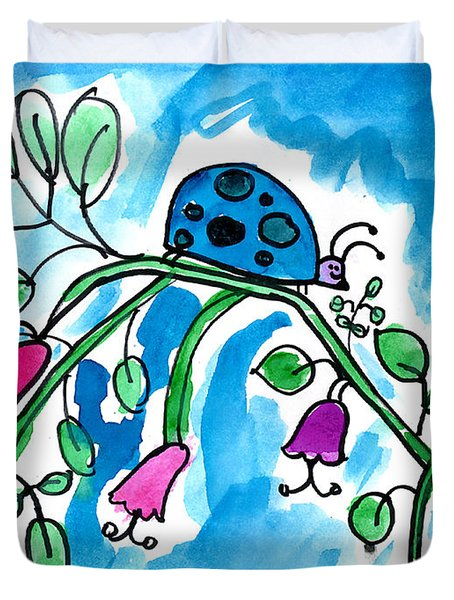 Blue Ladybug Duvet Cover