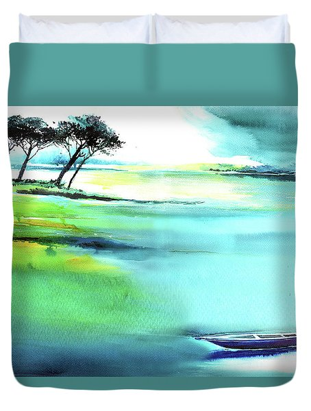 Duvet Cover featuring the painting Blue Lagoon by Anil Nene
