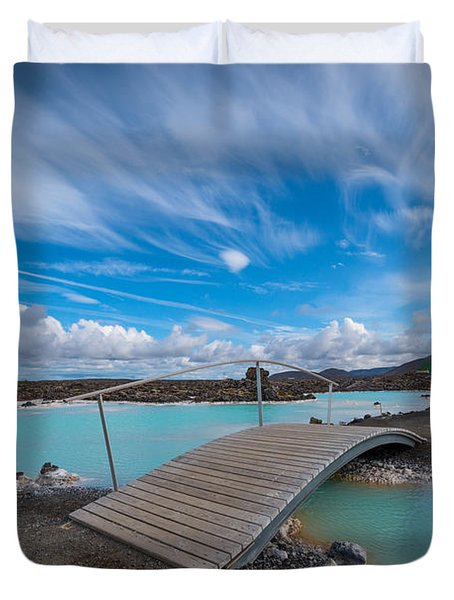 Blue Lagoon Bridge Duvet Cover