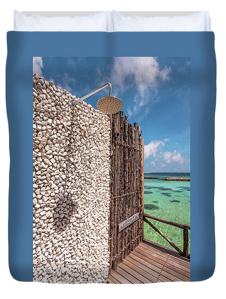 Duvet Cover featuring the photograph Blue Lagoon View 1 by Jenny Rainbow