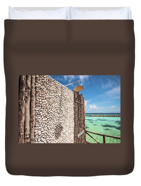 Duvet Cover featuring the photograph Blue Lagoon View by Jenny Rainbow