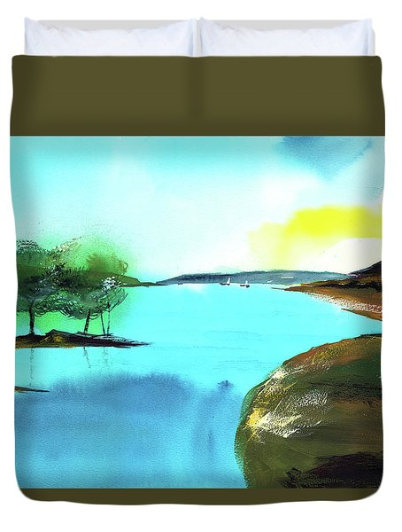 Duvet Cover featuring the painting Blue Lake by Anil Nene